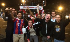 The Red Dragons celebrating on the streets of London