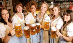 The welcoming staff at the Bavarian Beerhouse, a corner of Bavaria in the heart of the city of London