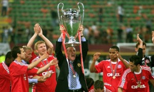 The culmination of a dream. Ottmar Hitzfeld finally gets his hands on the famous Henkelpott