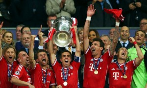 Philipp Lahm lifts the Champions' League trophy on a glorious evening at Wembley